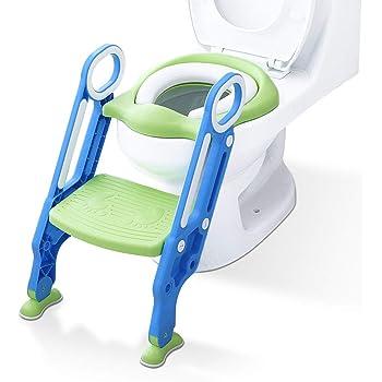 Si/ège de Toilette Enfant Pliable et R/églable Lunette de Toilette Confortable Reducteur de Toilette B/éb/é avec Marches Larges bleu