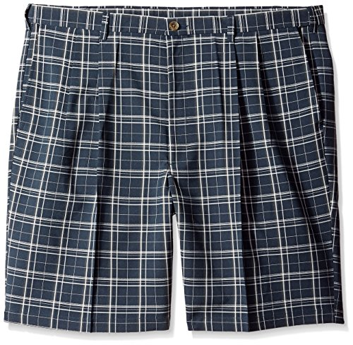 Haggar Men's Big-Tall Cool 18 Expandable Waistband Woven Plaid Pleat Front Short, Navy, 54W