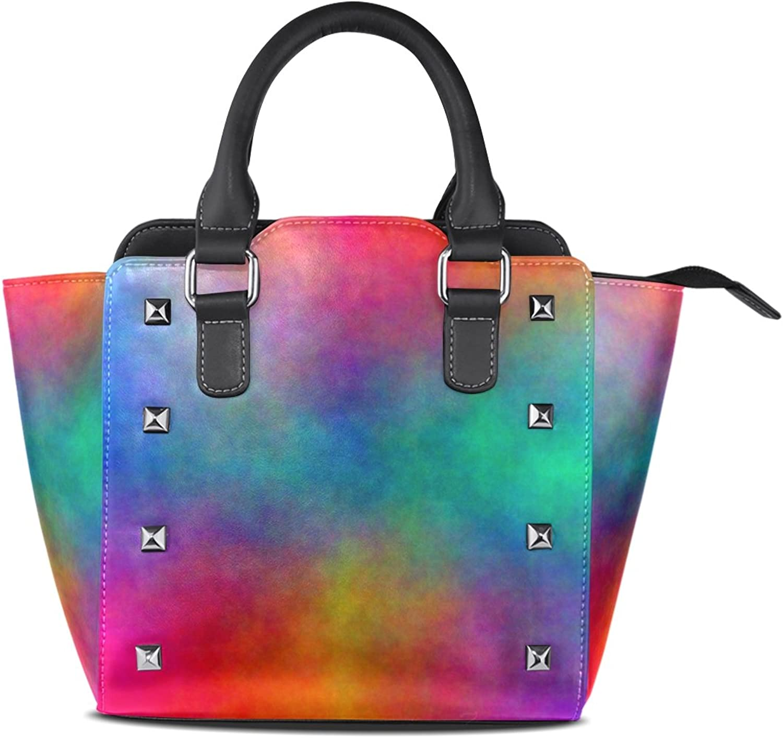 My Little Nest Women's Top Handle Satchel Handbag Watercolor Mix Ladies PU Leather Shoulder Bag Crossbody Bag