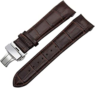 DeemoShop Curved End Genuine Calf Leather Watchband for T035 Couturier Watch Band Butterfly Buckle Strap Wrist Bracelet 22mm 23mm 24mm