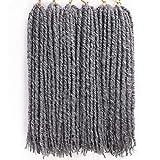 6Packs/lot 18 Inch Straight Faux Locs Crochet Hair Goddess faux Locs Hair Dreadlocks Synthetic Crochet Hair Braids for Women (Mixed Gray)