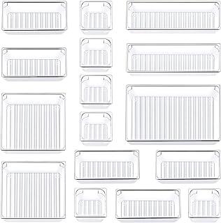 Kootek 16 Pcs Desk Drawer Organizer Set 5-Size Bathroom Drawer Tray Dividers Versatile Storage Bins Plastic Vanity Trays Organizers Divider Container for Dresser Makeup Kitchen Utensil Office