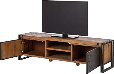 Meuble TV 180 cm Style Industriel en Bois Massif et métal, 2 Portes - Design Factory Vintage - Workshop