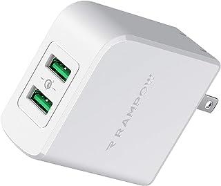 USB急速充電器 Rampow QC 2.0/3.0対応【2ポート /39W/PSE認証/保証付き】 USB コンセント ACアダプタ iPhone/iPad/Galaxy/Xperia その他Android各種対応