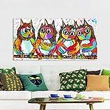 N / A Pintura sin Marco Imagen de Arte de Pared Lienzo Pintura al óleo Feliz Animal búho Sala de Estar decoración del hogarZGQ7210 50x100cm