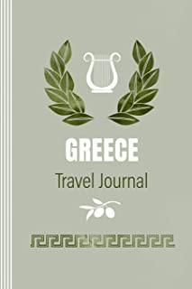 Greece Travel Journal: Blank Notebook To Write In - Diary Book for Journaling Travelers, 6 x 9 inch, 100 Lined 12 Dot Grid Pages - Greek Symbols and Map Illustration - Lightweight Soft Cover