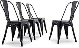 Belleze Set of (4) Trattoria Modern Dining Chair Heavy Duty Metal Stackable Chairs w/High Backrest, Antique Black