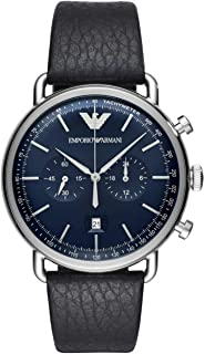 Emporio Armani Men's Blue Dial Leather Analog Watch - AR11105