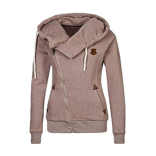 548cb526 Cutiefox Women's Casual Funnel Neck Zip up Fleece Hoodie Jacket