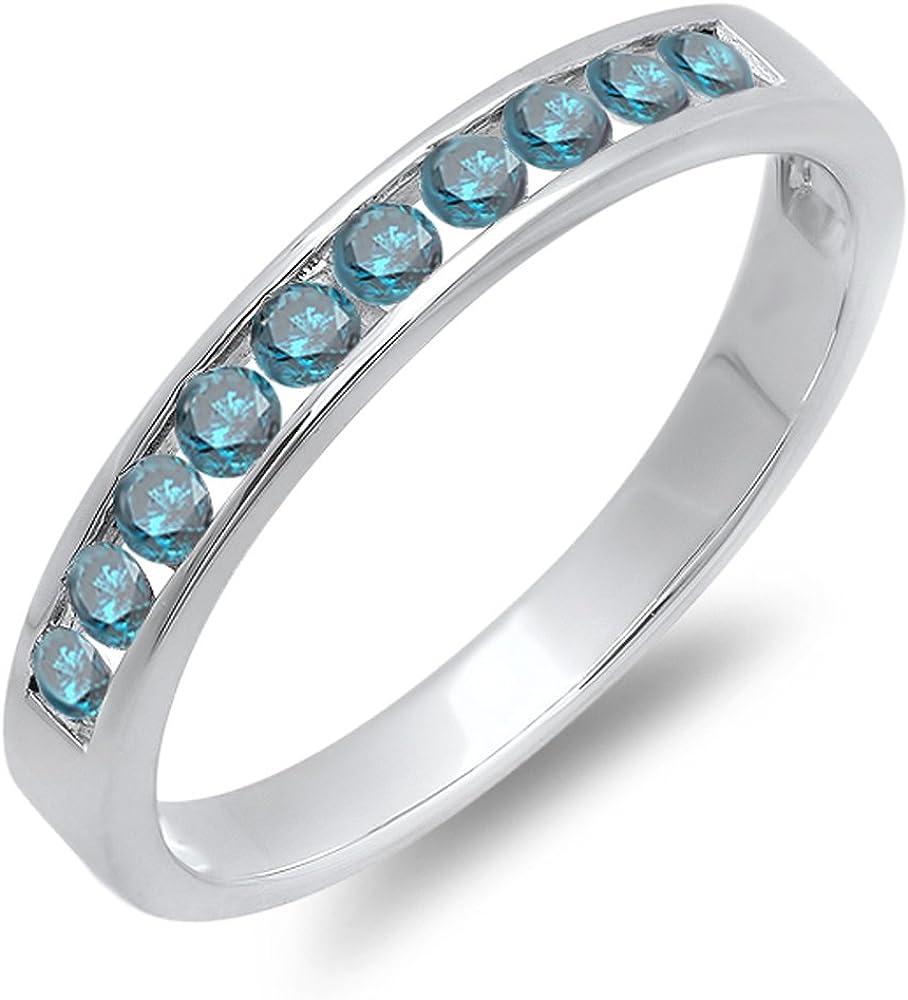 Dazzlingrock Collection 0.40 Carat (ctw) 10k Round Blue Diamond Ladies Anniversary Wedding Stackable Ring Band, White Gold