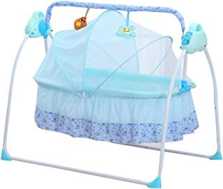 Electric Baby bassinet Swing, TBvechi Music Remoter Control Sleeping Basket Bed Electric Big Auto-Swing Bed Baby Cradle Space Safe Crib Infant Rocker Cot + Mat (Blue)