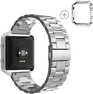 Fitbit Blaze Band Stainless Steel, SailFar Metal Watch Band Bracelet Strap Replacement Wrist Band with Metal Frame for Fitbit Blaze Watch(Silver, Stainless Steel + 1Silver Frame)