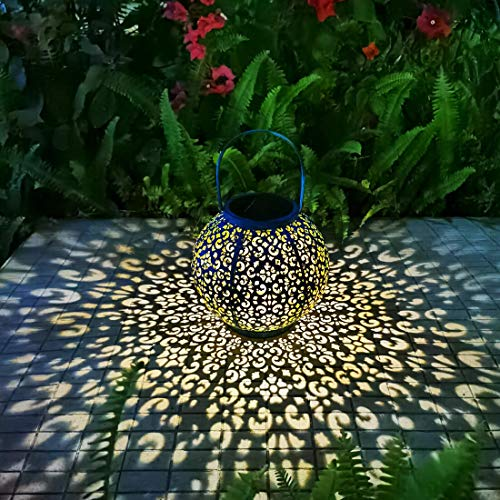 Solar Large Lantern Outdoor Hanging Lights Metal Decorative Garden Lights Waterproof Table Lamp for Patio, Courtyard, Party Decorations (1 Pack, Teal Blue)