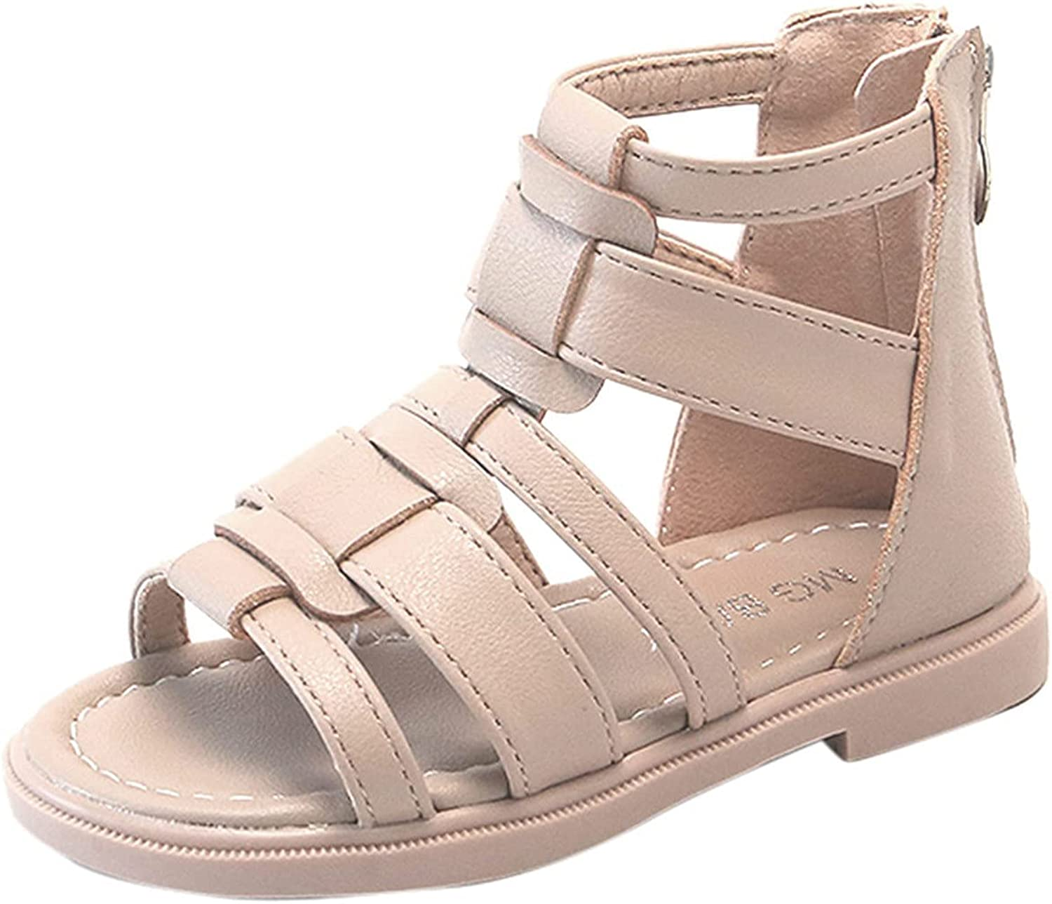 Toddler Girl Sandals for Summer Gladiator Cross-Tied Zipper Flat Sandals with Strappy Ankle Zipper Sandals for 1-9 Years