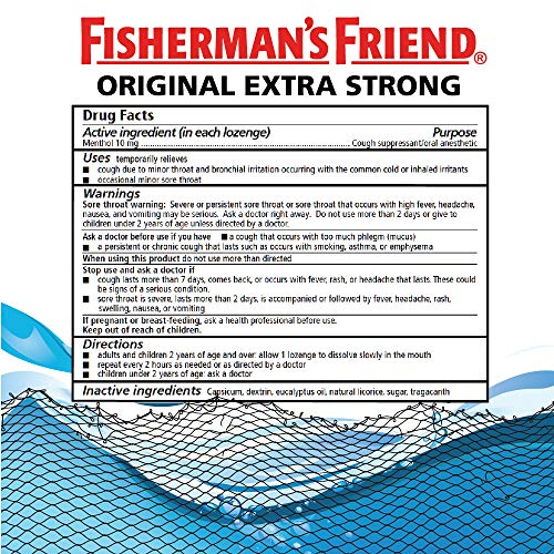 Cough Drops by Fisherman's Friend, Cough Suppressant and Sore Throat Lozenges, Mint Sugar Free Menthol Flavor, 20 Count (24 Pack)