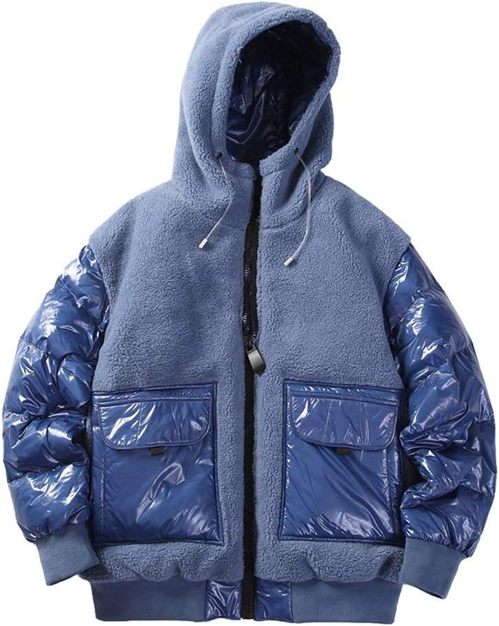 JJSPP Mens Winter Jacket Men Fleece Down Jacket for Men Hooded Coat Patchwork Windproof Streetwear Fashion Jackets (Color : Blue, Size : Large)