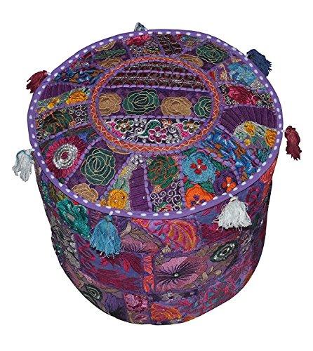 Rastogi artesanías indio cómodo piso cojín de algodón cubierta Otomano adornados con retales y bordado workhome decorativo otomano Puf infantil, de hecho a mano indio Vintage Otomano Puf turquesa