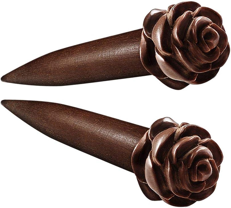 BanaVega 2PCS Wood Flesh Rose Black O-Rings Ear Taper Earring Piercing Stretching Gauge Piercing Jewelry See More Sizes