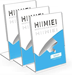 3 Pack 8.5x11 Slanted Back Acrylic Sign Holders, Clear Tabletop Plastic Menu Display Holder for Restaurants,Stores