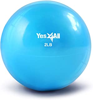 Yes4All Soft Weighted Toning Ball/Medicine Ball & Exercise Pilates Ring - Multi Colors & Weights Available
