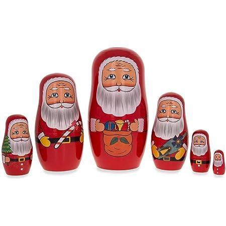 Santa Claus Nesting Dolls 7 Part Hand Crafted Russian Matryoshka