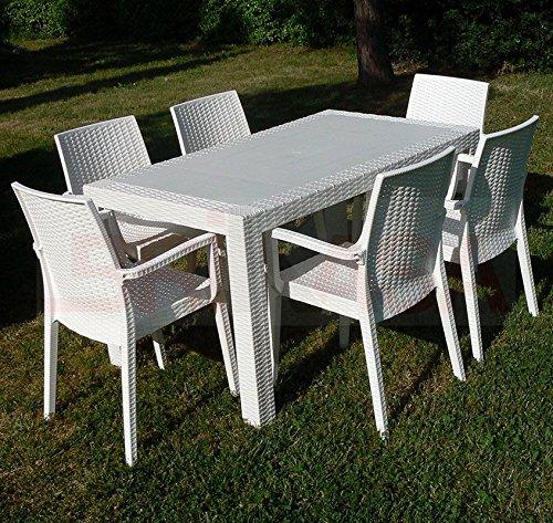 DIMAPLAST Set Garden Top Bianco Tavolo e 4 Poltrone in Resina Effetto Rattan da Giardino