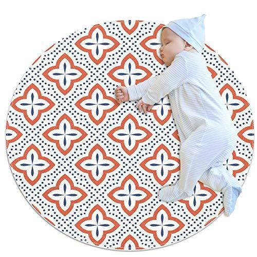 TIZORAX Shaggy-Teppich, traditionelles arabisches Muster, rund, Teppich für Wohnzimmer, Schlafzimmer, Kinderzimmer, Heimdekoration, Polyester, multi, 70x70cm/27.6x27.6IN