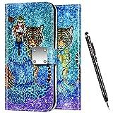 Uposao Kompatibel mit Samsung Galaxy Note 9 Hülle Leder Handyhülle Bunt Glänzend Bling Glitzer Klapphülle Flip Case Wallet Schutzhülle Brieftasche Klapphülle Tasche Kartenfächer,Mädchen Tiger