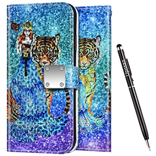 Uposao Kompatibel mit Samsung Galaxy S9 Plus Hülle Leder Handyhülle Bunt Glänzend Bling Glitzer Klapphülle Flip Case Wallet Schutzhülle Brieftasche Klapphülle Tasche Kartenfächer,Mädchen Tiger