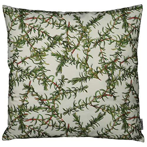 Lazis | ROSMARIN Deko Kissen 50x50 cm Kissenhülle Kissenbezug | Floral Zweige Weiß Grün | ohne Füllung | waschbar | Zierkissen Frühlingskissen Sommerkissen