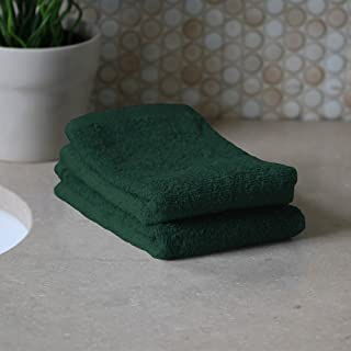 Bath Linens for Home, Office, and Gifts. Hotel Collection 100% USA Made 2-Piece Wash Cloth Set - Hunter Green - 13