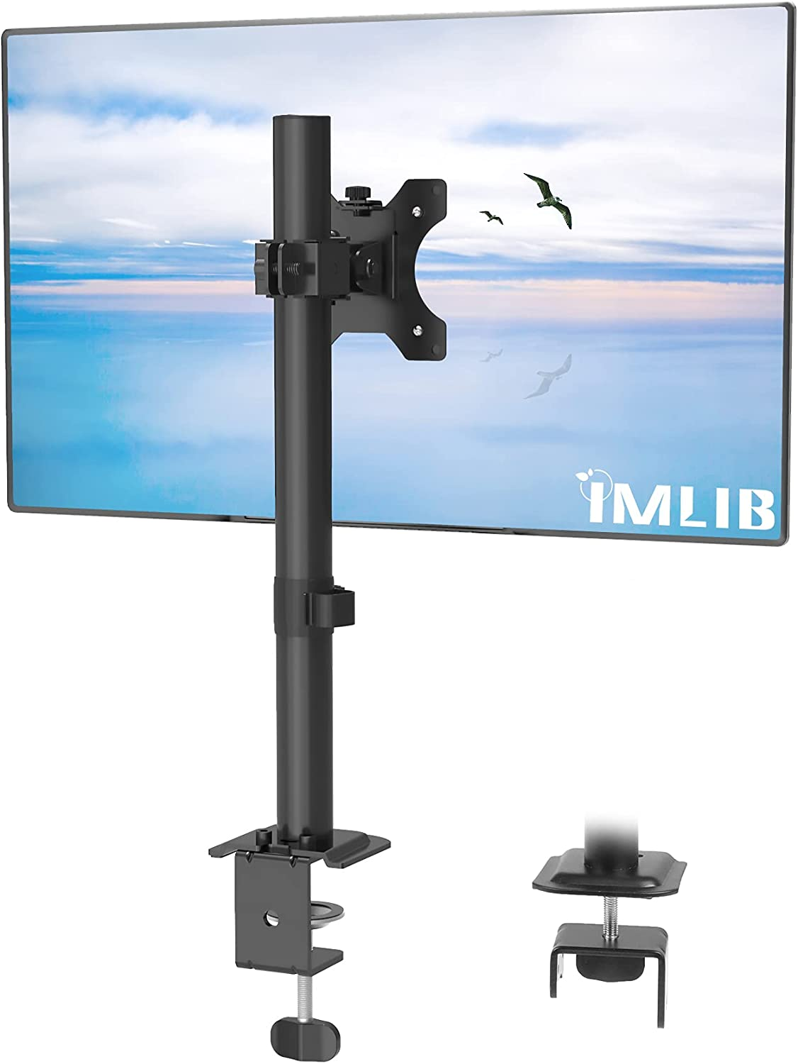 IMLIB Single Monitor Mount, LCD/LED Computer Monitor Stand for 13 to 32 inch Screens, Height Adjustable VESA Bracket with Clamp, Grommet Mounting Base, Hold up to 17.6lbs