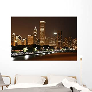 Wallmonkeys Chicago Skyline Wall Decal Peel and Stick Graphic WM209357 (60 in W x 40 in H)