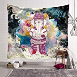 KHKJ Elegante Elefante de Color Impreso brujería Decorativo Hippie Mandala macramé Bohemio Tapiz Colgante de Pared A8 200x180cm