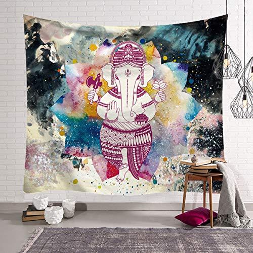 KHKJ Colorato Perla Elefante Arazzo 3D Mosaico Stile Hippie Arazzo Mandala Tessuto Cuscino Soggiorno Decorazione A12 95x73 cm