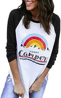 Women's Happy Camper Rainbow Raglan Shirt 3/4 Sleeve O-Neck Baseball Tees Tops