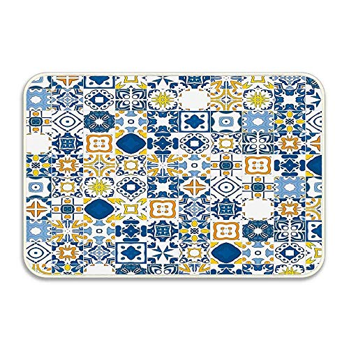 Gelb und Blau Mosaik Portugiesisch Azulejo Mediterran Arabesque Effekt Violett Blau Senf Fußmatte Wohnkultur Rutschfester, weicher Badteppich für das Innere des Badezimmers Schlafzimmerboden, 23,6 'x