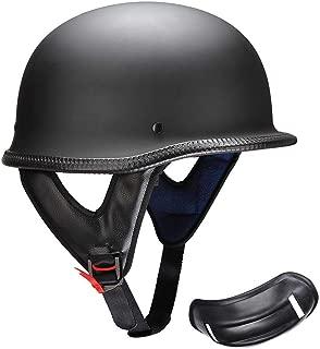 AHR DOT German Style Motorcycle Half Helmet Open Face Cruiser Chopper Biker Skull Cap Helmet Black XL