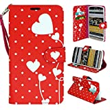 LG G3 Phone, Wallet Card Holder Customerfirst, PU Leather Pouch Flip Style Case Cover with Stand for LG G3 (Red Polka Dot Heart)