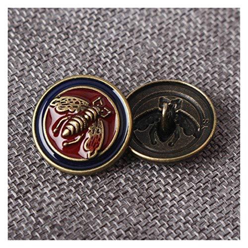 LOOEST Botones de Ropa 10pcs Honeybee Esmalte de Esmalte Metal Botones para Coser Scrapbook Jacket Blazer Suéteres Artesanía de Regalo Ropa de Trabajo Artificial 10-25mm para Vestido de Ropa