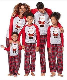 QNONAQ Navidad A Juego Pijamas Ropa a Juego Navidad de la Familia de la Familia Pijamas Set New de Navidad de la Familia Look Kids Adulto Camiseta Plaid bebé de los Pantalones Ropa de Dormir Pijamas