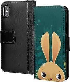 Söt påskhare kanin djur zoo PU-läder plånbok i kort telefonfodral skydd för ära 10