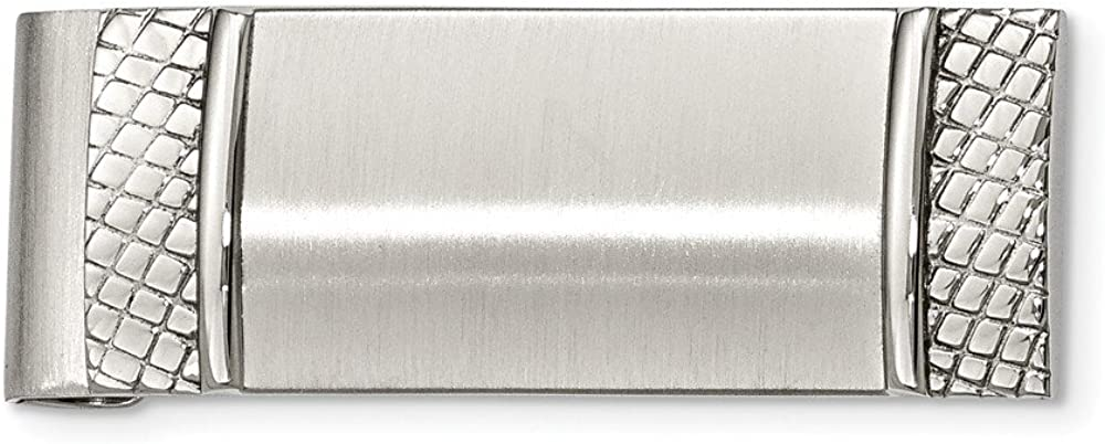 Stainless Steel Brushed and Textured Money Clip (20mm x 47mm)