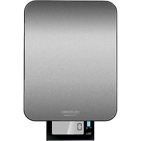 Cecotec Báscula de Cocina Digital Cook Control 9000 Waterproof, Alta Precisión, Acero Inoxidable, Resistente al Agua, Pantalla LCD Retroiluminada Extragrande y Extraíble, Capacidad Máxima 10 Kg