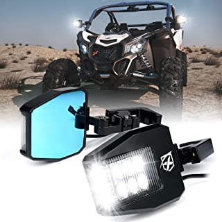 Xprite UTV Rear View Side Mirrors with Clear Lens LED Spot Lights fit 1.5-2 Inch Roll Bar Cage for Polaris RZR XP 1000, ATV, UTV, Side by Side, CAN-AM Maverick X3, Teryx, Yamaha