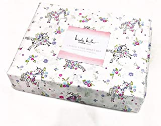 Nicol Miller Girls 3-pc Twin Sheet Set Featuring Floral Unicorns   100% Cotton Percale