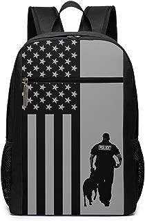 Police Dog Blue Line American Flag Backpack Waterproof Durable School Bag Big Capacity Multifunction Shoulders Bag Lightweight Custom Book Bag With Side Pockets Rucksack 17 Inch For Men Women Students