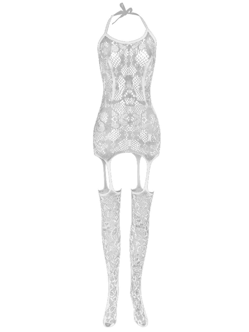Asooll Mesh Bodysuits Lingerie Max 88% OFF Ranking TOP1 Fishnet Dress L Sleepwear Elastic
