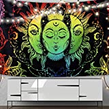 Trippy Moon Sun Tapestry Wall Hanging Psychedelic Tapestry for Bedroom Aesthetic Tapestries Boho Hippie Room Decor, Colorful Sun Moon and Stars 59'' × 51''