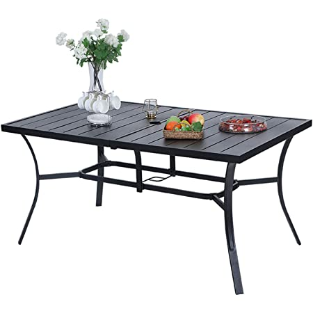 """MFSTUDIOO 6-Person Outdoor Metal Steel Slat Dining Rectangle Table with 1.9"""" Umbrella Hole, Black"""